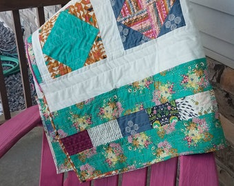 Indie Folk Handmade Quilt Throw One of a Kind Bohemian Fabric Ready to Ship Turquoise Multi Colors