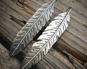 Sterling Silver Feather Earrings Handmade Feather Earrings Wild Prairie Silver Jewelry