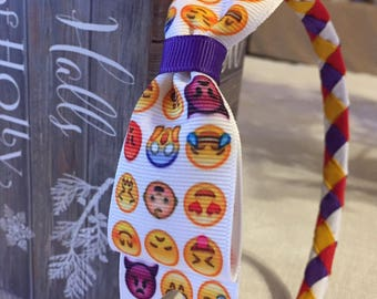 Emoji Text Silly Faces Woven Headband with emoji Ribbon Bow attached - Stunning Boutique Quality GIFT colorful
