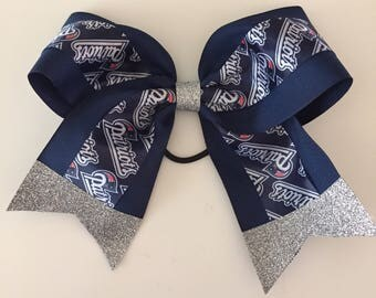 "New England Patriots 8"" wide cheer bow w/ Glitter Tails & Center Stunning!  Super Bowl Football hair bow navy blue silver"