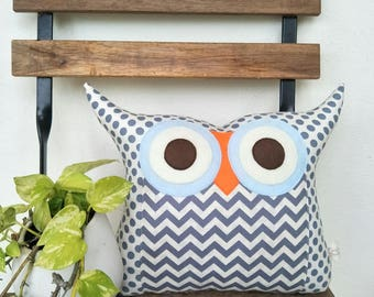 Large Size Grey Zig Zag Owl Pillow / Grey Blue /home Decor /living Room Part 85