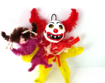 Creepy Clown Halloween Horror Holiday Folk Art Ornament