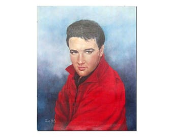 Vintage Elvis Presley Promotional Poster Print by June Kelley. Circa 1960's.
