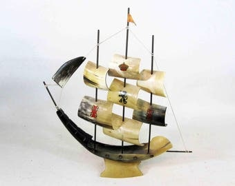 Vintage Bullhorn Ship Model. Taxidermy. Made in Spain. Circa 1960's.