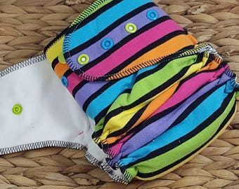Brite Stripe - One Size (11-35#) Hidden PUL w/Bamboo/OBV Soaker Fitted Cloth Diaper