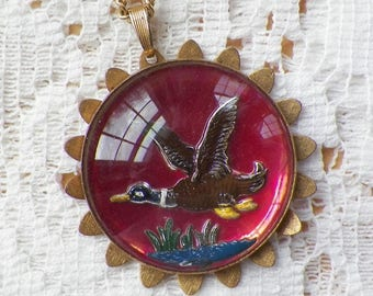 Vintage Intaglio Flying Duck over Pond / Cattails Pendant / Necklace, Dimensional, Reverse Painting