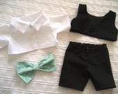 Custom vest, shirt, pants and mint green bow