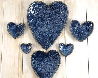 Ceramic Heart Set, Ring Dishes, Nested Plates, Midnight Blue Plates, Jewelry Organizer, Trinket Dishes,  Gift for Woman, 586