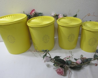 Vintage Tupperware  Canister Set of 4 Yellow