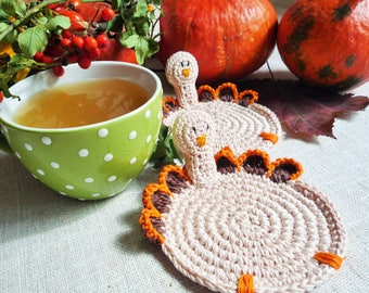 Crochet Turkey Coasters - Thanksgiving Table Decor - Crochet Coasters - Drink Coasters - Autumn Kitchen Decor - Set of 4 - Turkey Rug Mug