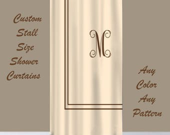RESERVE kBARNES_Stall Size Custom Shower Curtain with monogram in your colors, Personalized, Three Design options
