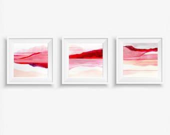 Set of 3 Digital Prints, Abstract Printable Art, Abstract Triptych Art Prints, Square Prints, Abstract Landscape - Meditations on Love 1-3