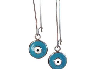 Evil eye dangle earrings - Blue eye - stainless steel -  Stainless - Greek jewelry - Gift for her