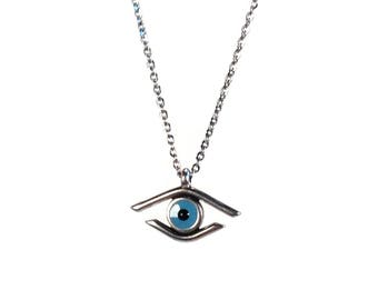 Evil eye necklace - stainless steel - Zamak - Greek jewelry - protection - gift for her - . Greek souvenir - Greece - gift