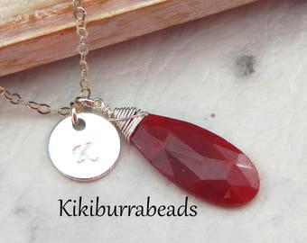 Ruby Necklace,July Birthstone Necklace,Personalized Initial Necklace,40th Anniversary Gift