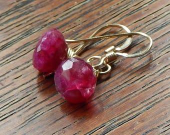 Ruby Earrings,Red Ruby Earrings, July Birthstone, Natural Ruby Earrings Wrapped Gemstone Earrings, Gold Filled