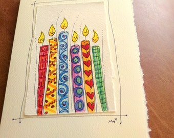 "Birthday Candles Watercolor Original Card ""Big Card"" 5x7 With Matching Envelope  betrueoriginals"
