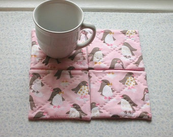pink penguins christmas stocking stuffer set of hand quilted mug rugs coasters