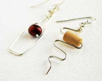 Wine Bottle and Cork Screw Sterling Silver Earrings. Wine Lovers Earrings with Red Grape and real cork. Wine Bottle. Wine Themed Jewelry