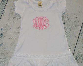 ON SALE Personalized Girls Ruffle Dress - Monogram dress girls custom dress