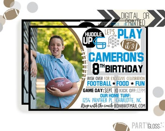 Football Birthday Invitation | Digital or Printed | Football Invitation | Carolina Invitation | Carolina Football | Blue and Black |
