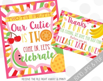 TWOtti Frutti Printable Sign | Fruity Welcome Sign | Twotti Fruitti Party | Fruit Printables | Fruity Favor Sign | Tutti Frutti Favor Sign