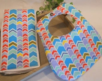Baby Gift Set...Flannel Baby Bib with Matching Burp Cloth