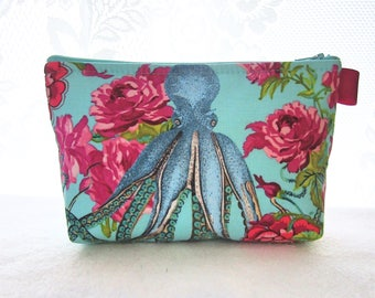 Octopus Fabric Large Cosmetic Bag Zipper Pouch Padded Makeup Bag Cotton Zip Pouch Neptune & the Mermaid Neverland Tokyo Milk Turquoise