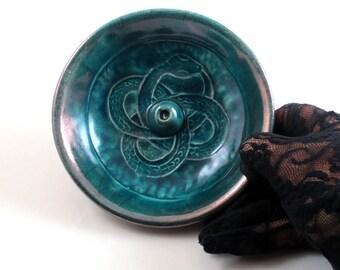 INCENSE BURNER  Handmade Ceramic Pottery Ouroboros Snake