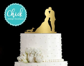 Dachshund Dog Wedding Cake Topper Hand Painted in Metallic Paint with Couple Kissing