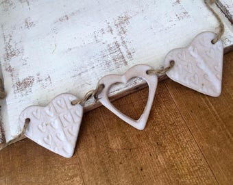FREE SHIPPING- Unique Hand made ceramic bunting, ceramic heart hanger.