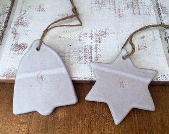 FREE SHIPPING- Star and Bell Ceramic christmas decorations, Ceramic hanger, handmade, decoration, garden hanger