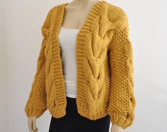 Mustard Oversized Knit Cardigan Chunky Knit Bomber Jacket Hand Knitted Coat