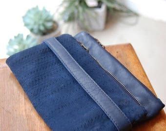 Wallet leather Blue Velvet openwork