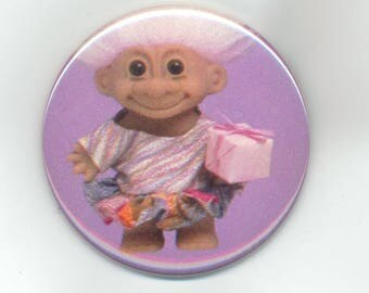 Vintage Troll Doll 1990s, Pinback Button, 2 1/4 inch