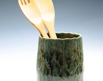 Golden Green Artichoke Utensil / Brush / Knitting Needles Caddy / Ceramic Vase