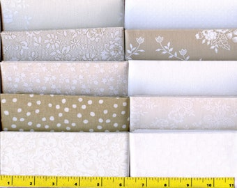 "Neutral Flowers Dot Tone on Tone Jelly Roll 40 - 2.5"" Strips Quilting Fabric b12"