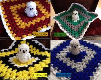 Blanket Lovey Baby Newborn Harry Potter Inspired Crochet Lovies Photo Prop Hedwig Owl Toy Hogwarts Gryffindor Slytherin Ravenclaw Hufflepuff