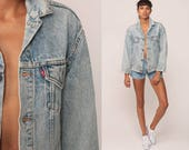 Denim Jacket LEVIS Jean Jacket 80s Denim Faded Blue Levi Coat Trucker 1980s Vintage Retro Grunge Hipster Small