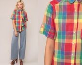 80s Plaid Shirt RAINBOW Checkered Shirt Plaid Blouse Grunge 1980s Vintage Button Down up Short Sleeve Red Large