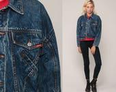 JORDACHE Jacket Acid Wash Denim Jacket 80s Jean Jacket Grunge Biker 1980s Vintage Button Up Hipster 90s Small