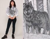 Wolf Sweatshirt 80s Animal Print Jumper Grey Tiny Fit Graphic Wildlife Sweater Slouch Shirt 90s Vintage Hipster Medium