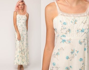 Floral Sundress Maxi Dress 70s Hippie Boho Empire Waist Summer Lace Tiered 1970s Vintage Sun Hippy Festival Off-White Blue Small