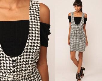 Jumper Dress 80s Mini Grunge HOUNDSTOOTH Checkered Suspender Skirt Vintage Black White Pinafore High Waist Sleeveless 90s Extra Small xs