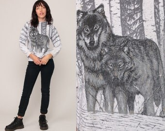 Wolf Sweatshirt 80s Animal Print Jumper Grey Tiny Fit Graphic Wildlife Sweater Slouch Shirt 90s Vintage Hipster Medium