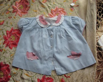 Vintage Blue Checkered Smock with Pink Collar and Pockets. No 19