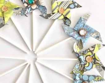 Lotus sequined and jeweled Pinwheels. Pinwheel Cupcake Toppers. Paper Pinwheels. Pinwheel Birthday Party. Amy Butler. Floral cupcake picks.