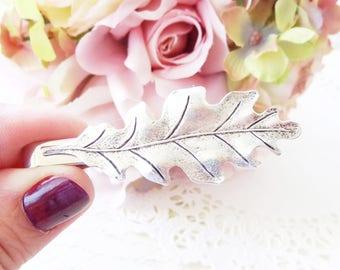 Ox Silver Oak Leaf Tie Bar - Oak Leaf Tie Bar - Mens Tie Clip - Wedding Accessory - Groomsmen Leaf Tie Bar - Woodland Wedding - Autumn Leaf