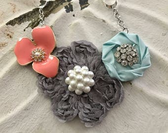 Blue, Coral, and Grey Fabric Flower Statement Necklace with Vintage Flower Brooch, Bridesmaid Gift, Bridal Party Gift