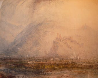 Bellinzona Switzerland by J M W Turner, English water color 1949 - print for art lovers  alps Swiss country  framable 11 by 14 in